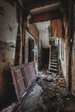Der Korridor eines verlassenen Hauses von Digitale Schilderijen