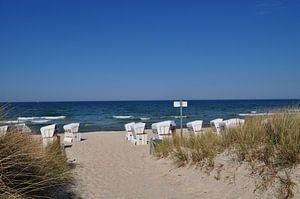 weiße Strandkörbe am Nordstrand in Göhren auf Rügen