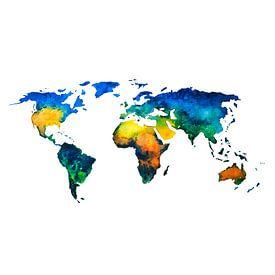Carte du monde en couleurs à l'aquarelle | Cercle mural sur Wereldkaarten.Shop