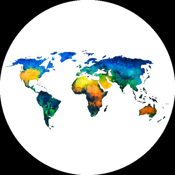Kleurrijke Wereldkaart in Aquarel | Wandcirkel van Wereldkaarten.Shop
