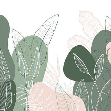 Modern tropisch patroon - illustratie bladeren groen roze van Studio Hinte