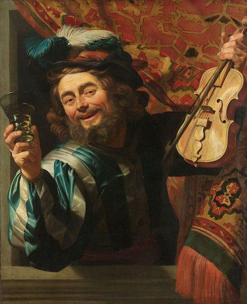 Ein fröhlicher Geigenspieler, Gerard van Honthorst von Meesterlijcke Meesters