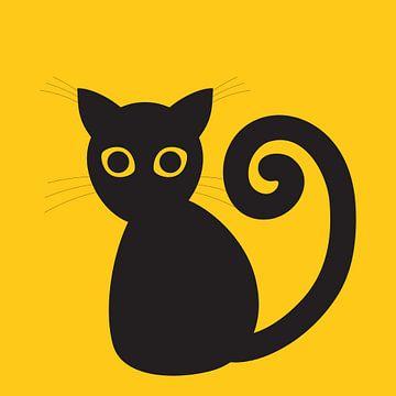 Schwarze digitale Katze von Bianca Wisseloo