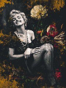 Marilyn Monroe Porträt Industrielle Vintage Blumen