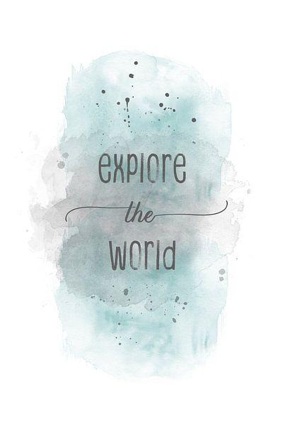 Explore the world  | aquarel turquoise van Melanie Viola