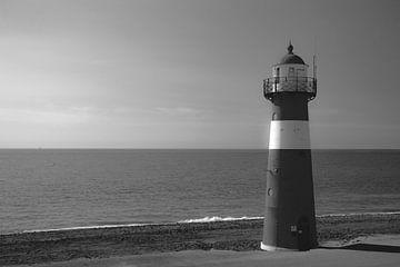 Leuchtturm in schwarz und weiß von Sander van Driel