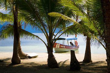 Bootje op tropisch strand in Panama van Michiel Dros