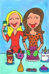 Vrolijk schilderij van meiden die bakken van