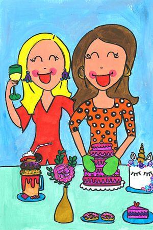 Vrolijk schilderij van meiden die bakken van Schildermijtje Shop