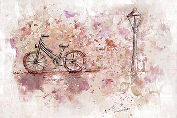 Aquarel schilderij fiets in de stad van Emiel de Lange