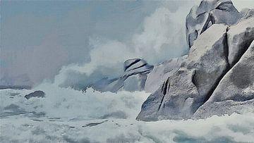 Natuur - Branding bij Rotsachtige Kust met Wilde Golven - Sardinië - Capo Testa - Schilderij