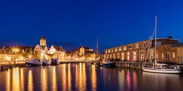 Oude haven in de Hanzestad Wismar 's avonds van Werner Dieterich