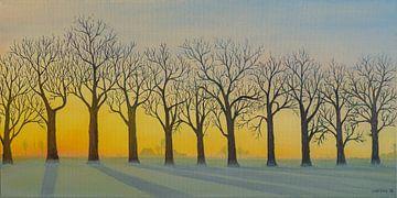 Bomenrij in de winter met opkomende zon. Acryl schilderij van Marlies Huijzer. sur Martin Stevens