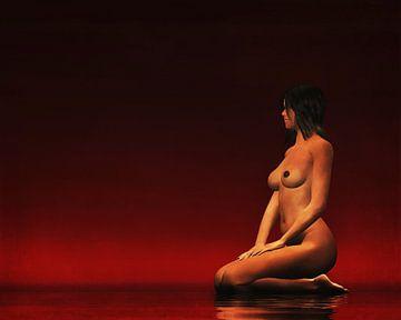 Erotisch naakt - Naakte vrouw zit stil, kijkt uit naar iets