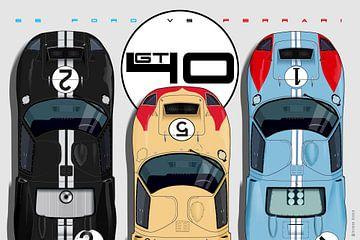 GT40, Le Mans 1966, Sieger in Formation von Theodor Decker