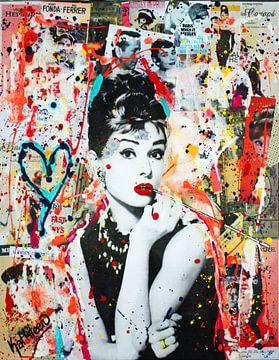 """Audrey Hepburn """"Mensen"""" van Kathleen Artist Fine Art"""
