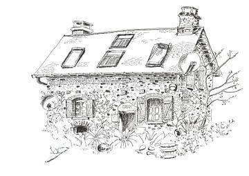 Pentekening van klein huisje in Frankrijk van Ivonne Wierink