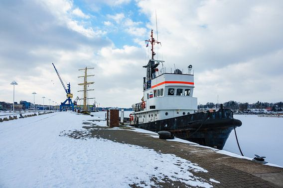Winter time in the city port of Rostock, Germany