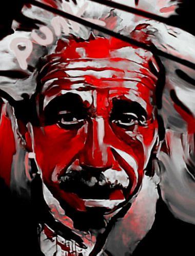 Albert Einstein PUNK Red Colourful  van
