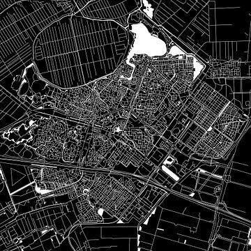 Zoetermeer Stadtplan | Schwarz | Quadratisch oder als Wandkreis von Wereldkaarten.Shop