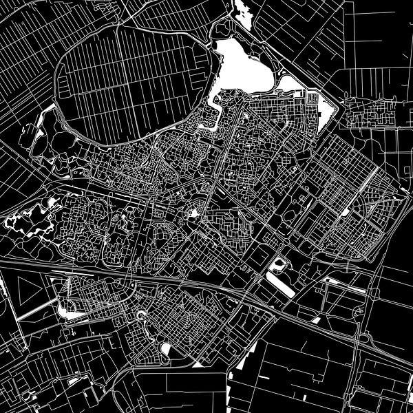 Zoetermeer Stadskaart | Zwart | Vierkant of als Wandcirkel van Wereldkaarten.Shop