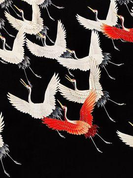 Fliegende Kraniche, Original aus dem Rijksmuseum. von Studio POPPY