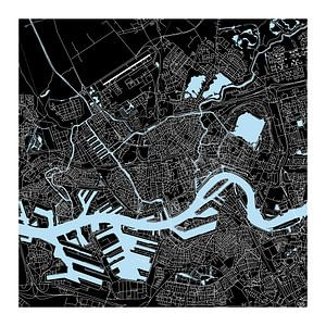 Rotterdam | Stadskaart | Vierkant in Zwart en Blauw met een Witte kader