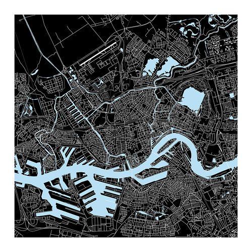 Rotterdam Plattegrond - Vierkant in Zwart