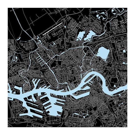 Rotterdam | Stadskaart | Vierkant in Zwart en Blauw met een Witte kader van - Wereldkaarten.Shop -