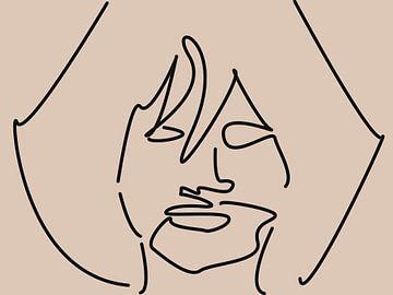 Abstrakte Strichzeichnung Gesicht Frau von Maurice Dawson