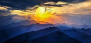 Bergen bij zonsondergang van Angel Estevez