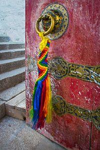 De deur staat op een kier in een klooster Tibet