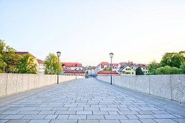 Uitzicht vanaf de stenen brug naar Stadtamhof Regensburg van Roith Fotografie