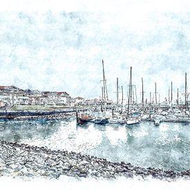 Jachthaven van Wemeldinge (Zeeland) (kunstwerk) van Art by Jeronimo