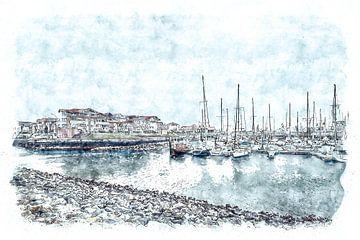 Jachthaven van Wemeldinge (Zeeland) (kunstwerk) sur Art by Jeronimo