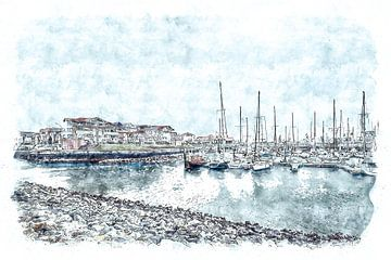 Jachthaven van Wemeldinge (Zeeland) (kunstwerk) von Art by Jeronimo