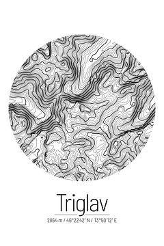 Triglav | Topographie de la carte (minimum) sur City Maps