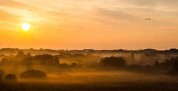 Panorama zonsopkomst duinen met mist Katwijk van Menno van Duijn