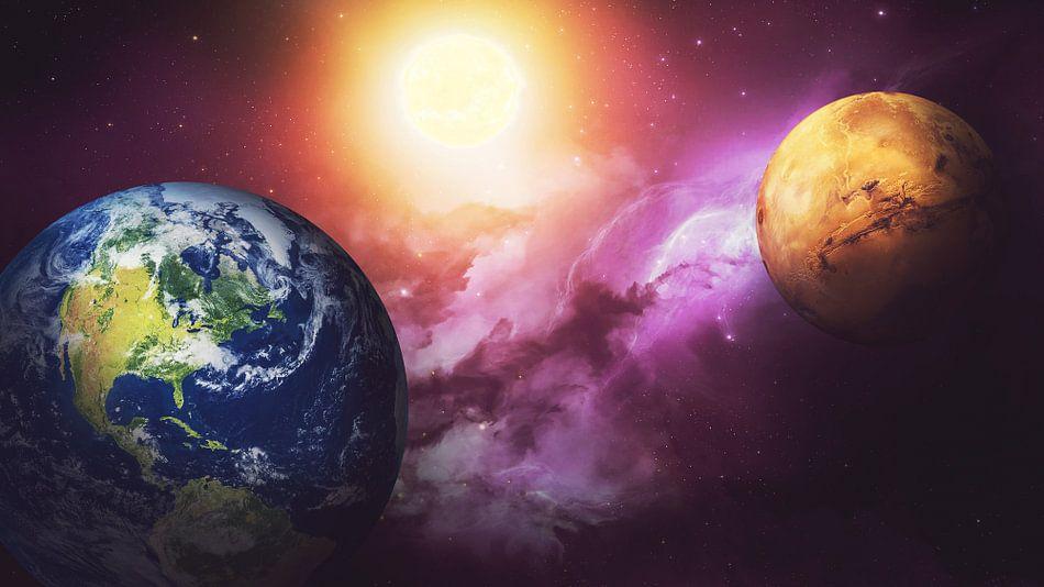 Planeet Aarde, Mars, Zon