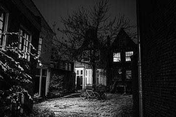 Goudsmitsplein Haarlem Schnee Januar 2021 schwarz weiß von Bob Van der Wolf