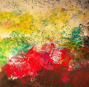 Farbenspiel mit Punkten und grünen Waben von Klaus Heidecker
