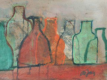Flessen met orange en groen von Leo de Jong
