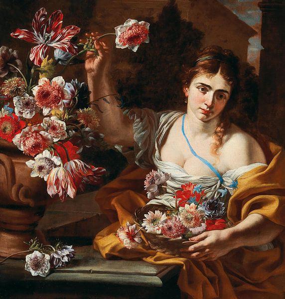 Eine junge Frau, die eine Blume aus einer Vase nimmt, Abraham Brueghel von Meesterlijcke Meesters