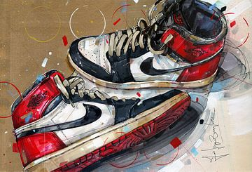 Nike Air Jordan 1 Chicago 1984 Gemälde von Jos Hoppenbrouwers