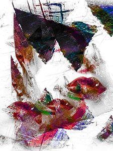 Three pairs of red lips