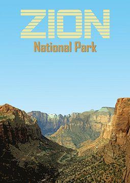 Vintage poster, Zion National Park, Utah, Amerika van Discover Dutch Nature