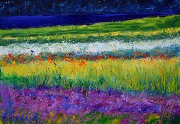 Een veld met bloemen van pol ledent