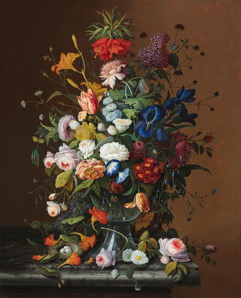 Nature morte aux fleurs avec nid d'oiseau, Severin Roesen sur Meesterlijcke Meesters
