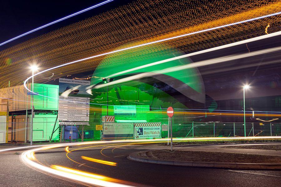 Groningen / Avondopname van het Infoversum in aanbouw / 2013