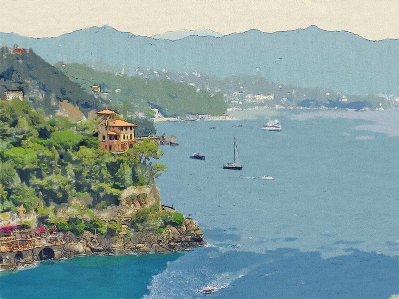Popart - Italie - Italiaanse Riviera - Portofino - Schilderij van Schildersatelier van der Ven
